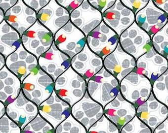 EBI Fabrics Hounds on Holiday Graphite Chrismas Lights  Holiday Fabric by the yard or select cut QT1553-885