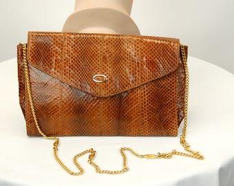 1980s snakeskin bag purse chain shoulder strap Raffael Made in Spain caramel brown envelope clutch