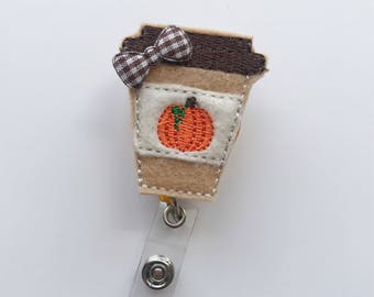 fall badge reel, Nursing Badge Reel, Nurse badge reel, id holder, pumpkin spice latte, teacher badge reel, retractable badge, badge reel