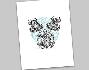 Tribal Underwater Turtles Animal Pattern Design, Polynesian Hawaiian Tattoo Art Style, Art Print, Sale