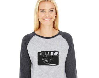 Camera Shirt, Baseball Tee Shirt, 3/4 sleeve tshirt, Photographer gift, Shirts for kids, Family shirts Shirts for Women Black And  White Top
