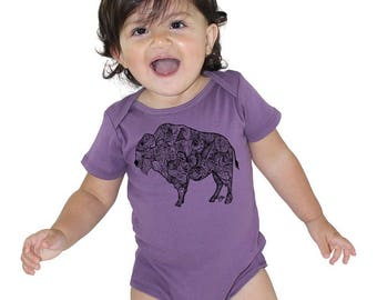 Southwest Baby Clothes, Wild Buffalo Baby Shirt, Short Sleeved Organic Baby Bodysuit, Onepiece Romper, Organic Cotton, Purple Bison Tshirt
