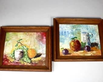 Vintage Still Life Painting Fruit, Original Oil Paintings, Contemporary Folk Art, Retro Fruit Decor, Signed & Dated, 1960s 1969