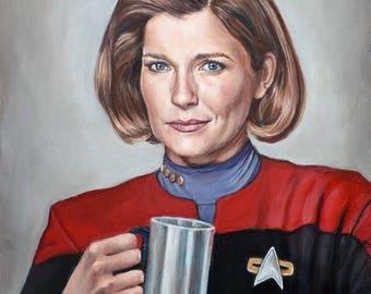 Captain Janeway - Star Trek Voyager fine art print - Kathryn Janeway Portrait Painting - Kate Mulgrew - 5x7 8x10 11x14