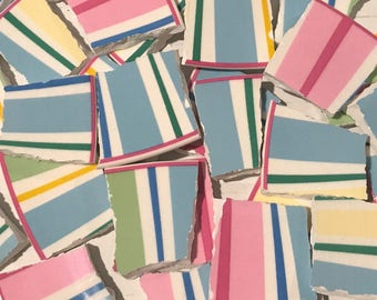 Broken China Mosaic Tile -Recycled Plates -  Stripes - Colorful Pastels - Set of 30