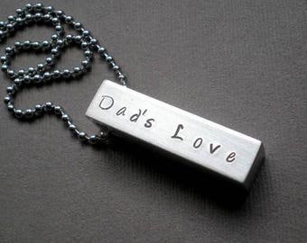 ON SALE GIFT for  Dad. Fathers Day. Husband. Hand Stamped Square Bar Pendant Necklace. Brother. Hand Stamped Jewelry - Sports Team Gift. Equ