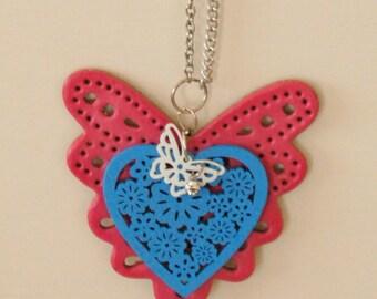 Pretty little big pendant -Heart and Butterflies - pendant & chain