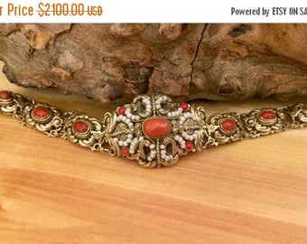CIJ SALE Christmas JULY Stunning Austro Hungarian Gold Gilt Silver Natural Red Coral Seed Pearl Enamel Vintage Antique Bracelet