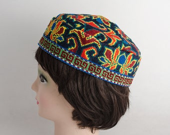 cross stitch embroidered skullcap, hat, cap, kufi, gorgeous and very unique headwear, a great present