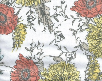 """ORANGE & YELLOW FLOWERS on White  Background Flannel Fabric, 1 yard x 42"""" inches wide.  Brand new."""