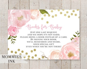 Books for Baby Insert, Pink Peony Bring a Book Insert, Shower Printable, Pink and Gold Floral, Stock Baby's Library, Watercolor Book Request