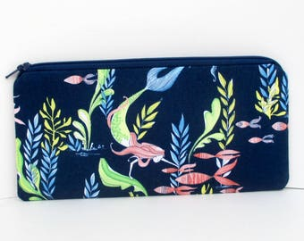 Mermaid Pencil Pouch, Long Zippered Bag, Mermaid Days, Bottom of the Sea, Navy Blue