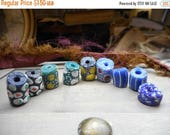 SALE destash lot of painted ceramic beads modern spotted  boho groovy hippy jewelry supplies