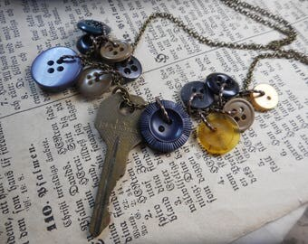 The Old Fitchburg Button Mill. Rustic Vintage key vintage button necklace. Wearable Neck art assemblage necklace ooak recycled eco friendly