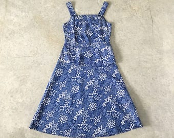 70s navy and white cotton floral skirt set - 1211411