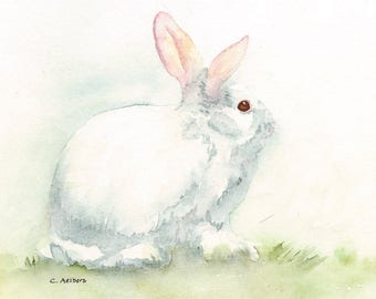 Original Painting of a White Bunny Rabbit - 5 x 7 Watercolor