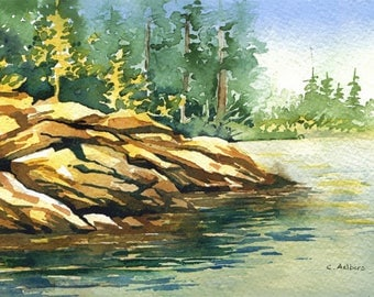 Seascape Original Watercolor Painting