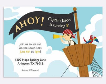 Pirate Ship Party Invitation, Boy Birthday Party Invitation, Kid's Birthday Party, Custom Party Invitation, Pirate Flag, Parrot