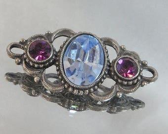 SALE Vintage Bar Brooch Pin Blue Topaz and Purple Amethyst Rhinestones