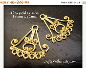 8% off SHOP-WIDE, 1 Pair Bali Chandelier Findings, 19mm x 21mm, CHOOSE 24kt Gold Vermeil or Sterling Silver (oxidized)