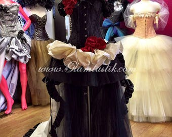 SIze Small Black and Ivory with red roses HIgh Low - READY TO SHIP