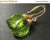 SUMMER SALE Glass Green Leaf Earrings, Wire Wrapped. Handmade Jewelry