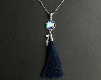 Navy Blue Tassel Necklace. Universe Necklace. Blue Necklace. Native Necklace. Tassle Necklace. Silver Necklace. Handmade Necklace.