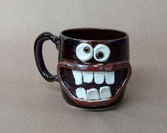 Hot Dog Loving Coffee Mug. Large 16 Ounce Stoneware Pottery Handmade Teacup. Silly Face Mugs. Unique Goofy Gifts for Man Woman