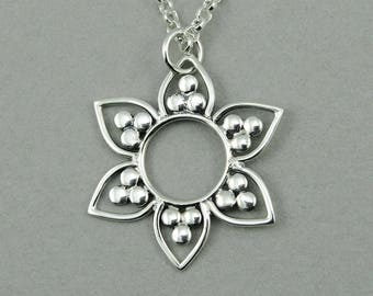 Mandala Necklace - Sterling Silver Lotus Flower Pendant Jewelry, Trendy Necklaces, Birthday Gift, Henna