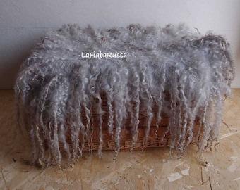 silver gray felted wool layer newborn newborn props, large flat curly felt fur rug, basket filler, wool fluff, NO sheepskin rug, cat bed