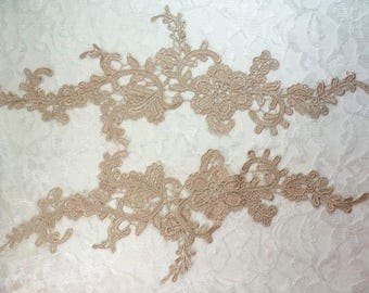 """Embroidered Lace Appliques Champagne Floral Venice Lace Mirror Pair 13"""" (DH88X-chp)"""