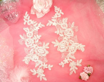 "Embroidered Venice Lace Appliques Off White Floral Venice Lace Mirror Pair 10"" (DH109X-owh)"