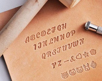 Bold Hand Writing Capital Letters & Patterns Leather Stamp Gift Set|Alphabet Stamp Emboss Engraving Stamping LeatherDIY Leathercraft DIYkit