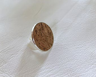 SILVER PLATED cork adjustable ring cork ring statement ring leather ring