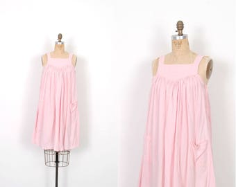 Vintage 1980s Dress / 80s Pink Cotton Babydoll Sundress / Mini Dress ( S M L )
