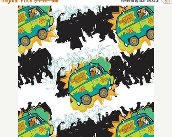 CHRISTMASINJULY SALE Scooby Doo Fabric 23700103-2 White Scooby Doo Mystery Machine Fabric Camelot Fabric, Scooby Doo Quilt