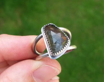 sterling silver watermelon tourmaline ring - silver ring - stacker ring