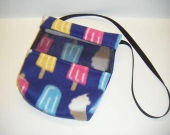 Sugar Glider, Bonding Pouch, Blue Fleece, Popsicle Fleece, Ice Cream Fleece, Zipper Closure, Ventilation Screen, Small Animal Pouch