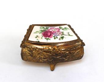 Antique Brass Flowers Jewellery Box, Floral Trinket Box, Vintage Trinket Box Bronze Box, Vintage Jewelry Box Porcelain Brass Flower Ring Box
