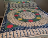 Chenille Bedspread  ~ Full Size ~ Vintage Bedspread  ~ Blue, Pink, Green White ~ Old Fashion Bedding ~ Home Decor ~ Shabby Chic ~ Boho