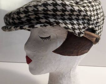 Houndstooth vintage newsboy hat in brown cream ivory with adjustable back