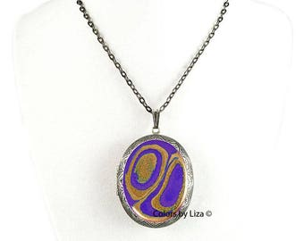 Purple and Gold Pill Box Necklace Hand Painted Enamel Oval Locket Necklace Agate Inspired with Color and Personalized Options