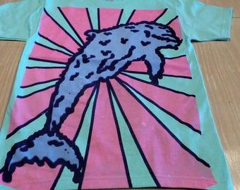 T-Shirt - Melty Dolphin (Blue/Pink on Mint)