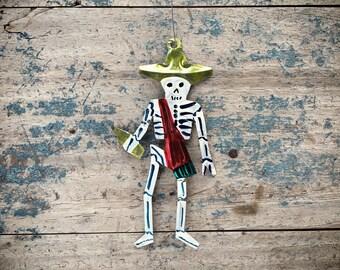 Vintage beer drinking calavera skeleton tin ornament, Mexican tin Christmas ornament, hacienda decor, Day of the Dead decor, skeleton decor