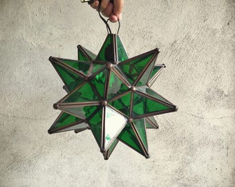 Green glass hanging star lantern from Mexico hanging star pendant lamp