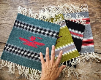 Handwoven wool miniature rug or small table runner Southwestern decor Zapotec weaving