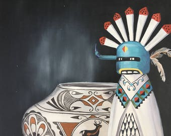 "12"" x 16"" Original Oil Painting Canvas Kachina and Pottery by Karen Brueggemann"