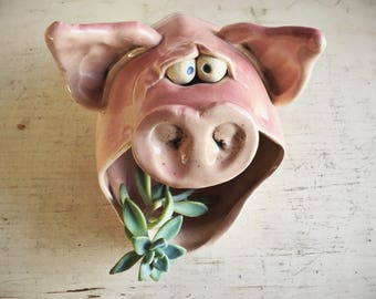 Vintage Pig Planter Air Plant Holder Funky Gift for Succulent Lover, Pig Gifts for Brother, Mid Century Decor, Pottery Planter, Pig Decor