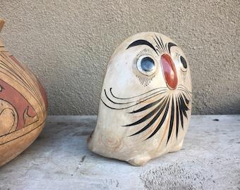 Large Burnished Pottery Owl Statue Tonala Mexican Pottery Southwestern Decor, Mexican Folk Art