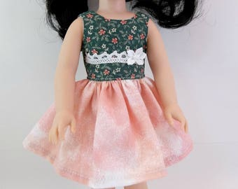"Doll Dress for 14.5"" Doll Green Top Peach Batik Skirt Sleeveless Dress Fits Wellie Wishers and Similar Dolls"